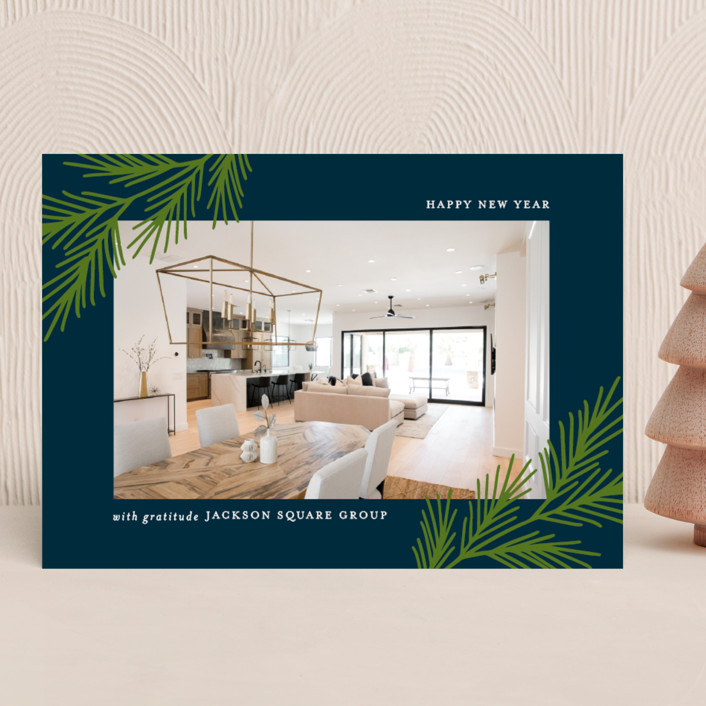 """""""Winter Branches"""" - Business Holiday Cards in Midnight by Susan Asbill."""