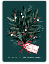 This is a green business holiday card by Melanie Kosuge called Bouquet with standard printing on signature in standard.