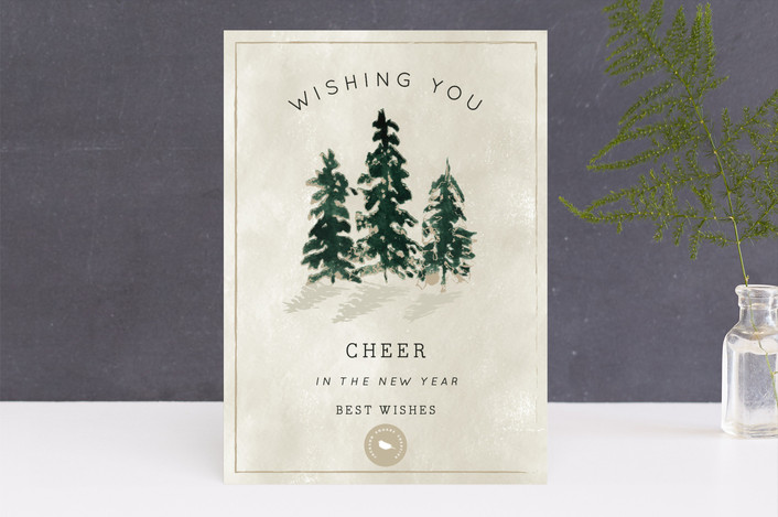"""Forest of Pines"" - Bohemian Business Holiday Cards in Ginger by Chris Griffith."
