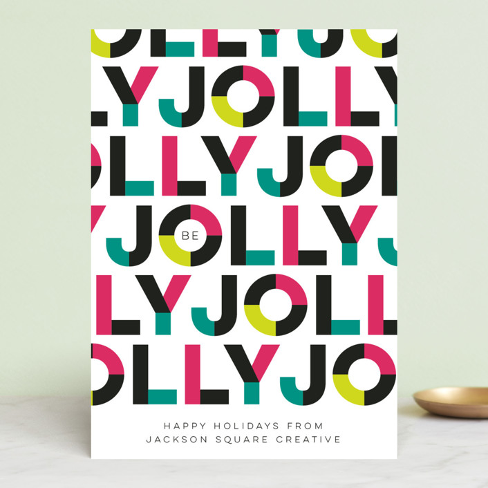 """Boldly Jolly"" - Modern Business Holiday Cards in Festive by Three Kisses Studio."