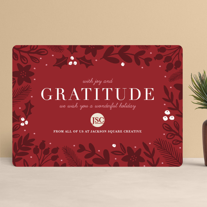 """Bold Gratitude"" - Business Holiday Cards in Mint by Beth Schneider."