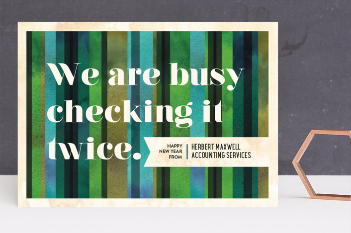 """""""Checking It Twice"""" - Business Holiday Cards in Evergreen by Alex Elko Design."""