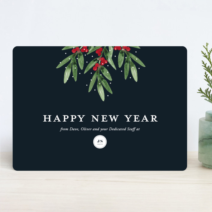 """""""Merry Mistletoe"""" - Business Holiday Cards in Midnight by Beth Schneider."""