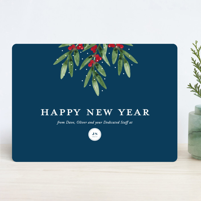 """""""Merry Mistletoe"""" - Business Holiday Cards in Navy by Beth Schneider."""