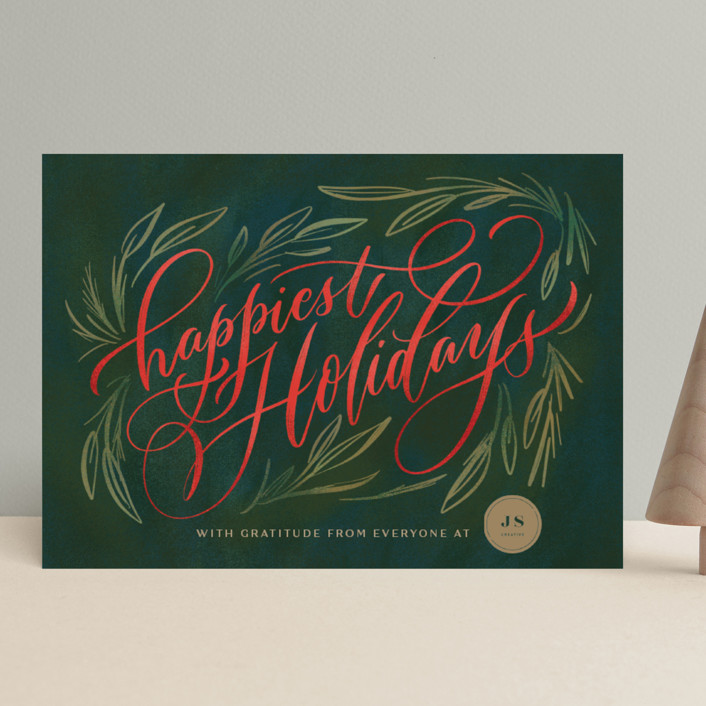 """""""Painted Wishes"""" - Business Holiday Cards in Evergrenn by Laura Bolter Design."""
