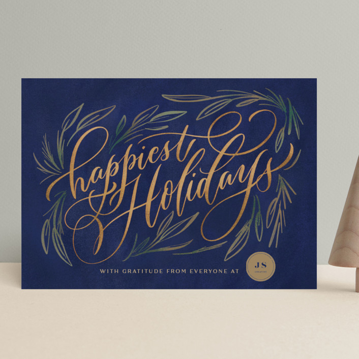 """""""Painted Wishes"""" - Bohemian Business Holiday Cards in Winter Sky by Laura Bolter."""