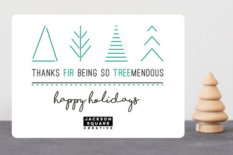 Thanks Fir Being So Treemendous Business Holiday Cards