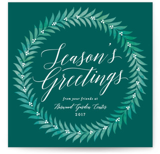 Elegant Wreath Business Holiday Cards