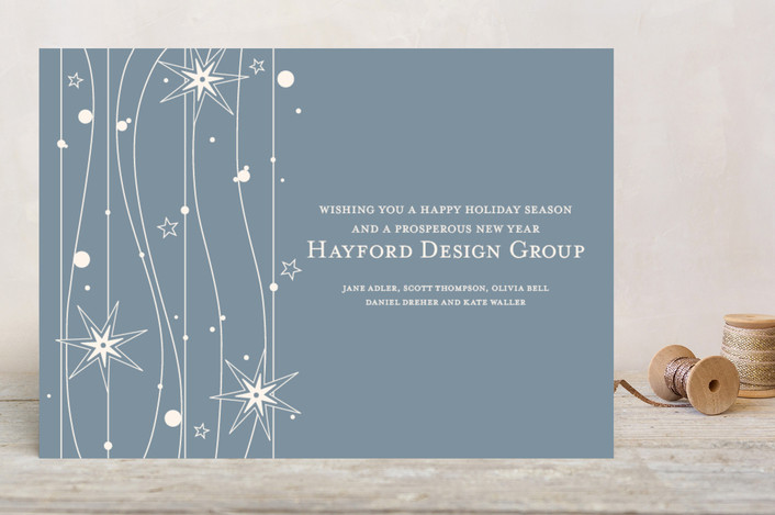 """""""Twilight Stars"""" - Business Holiday Cards in Smokey Blue by Cococello."""