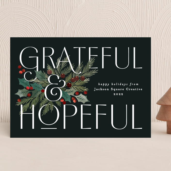 """""""Grateful and Hopeful"""" - Business Holiday Cards in Wreath by Alethea and Ruth."""