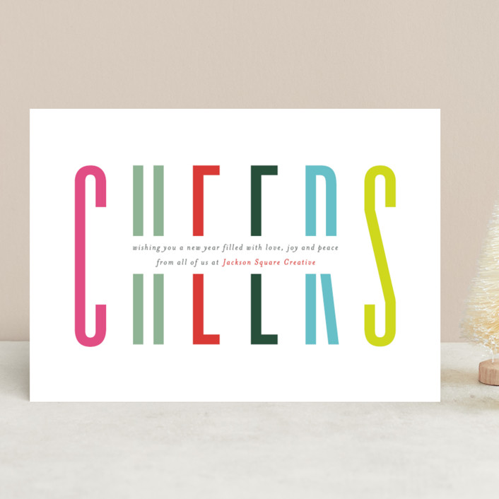 """""""Bold Cheer"""" - Business Holiday Cards in Candy by Mansi Verma."""