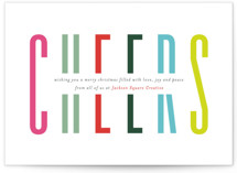 This is a colorful business holiday card by Mansi Verma called Bold Cheer with standard printing on signature in standard.