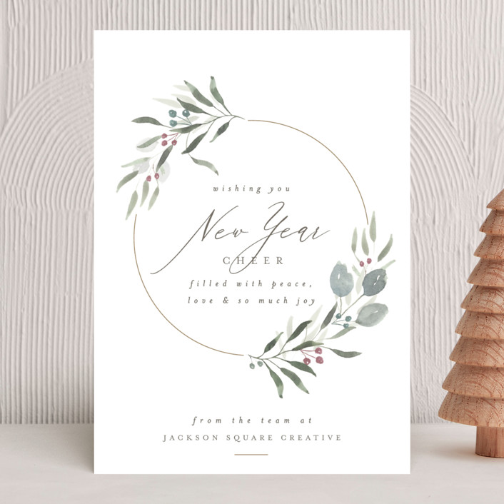 """tranquil wreath"" - Business Holiday Cards in Sky by Carolyn Nicks."