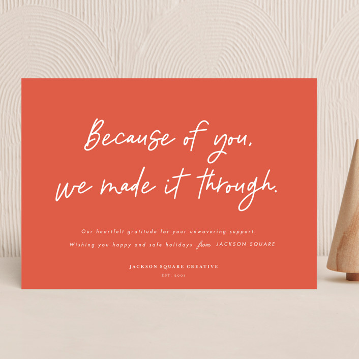 """""""Because of you"""" - Business Holiday Cards in Tangerine by Catherine Culvenor."""