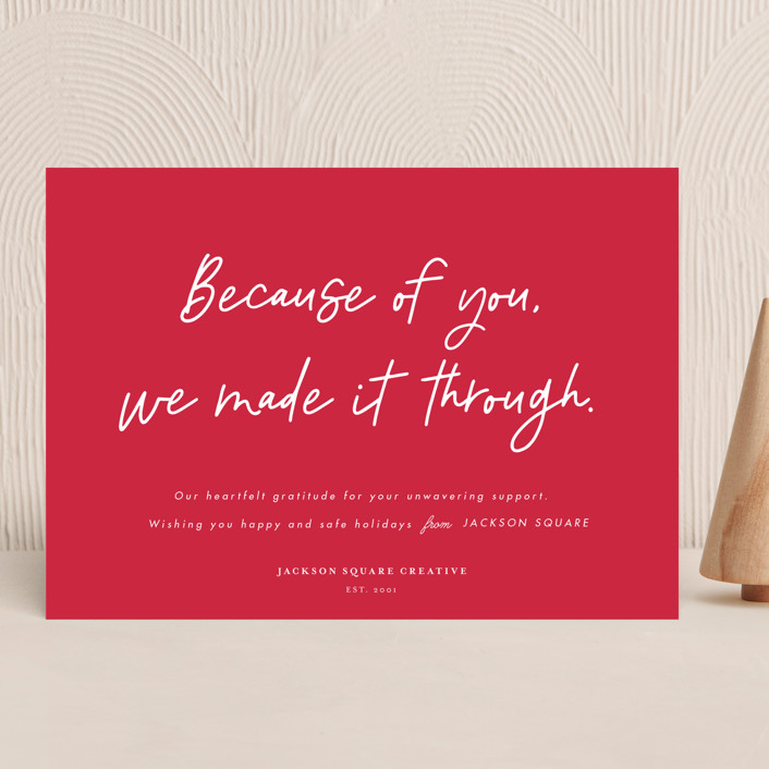 """""""Because of you"""" - Business Holiday Cards in Cranberry by Catherine Culvenor."""