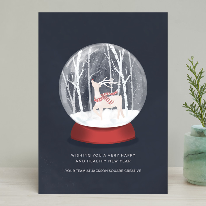 """Snow Globe Wonderland"" - Business Holiday Cards in Navy by Melinda Denison."