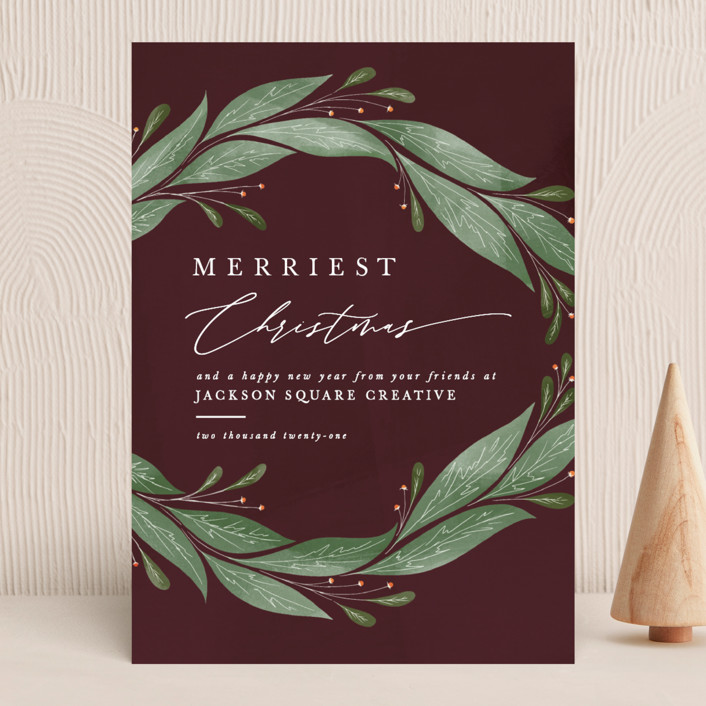 """""""Textured Wreath"""" - Business Holiday Cards in Cranberry by Ally Madison."""
