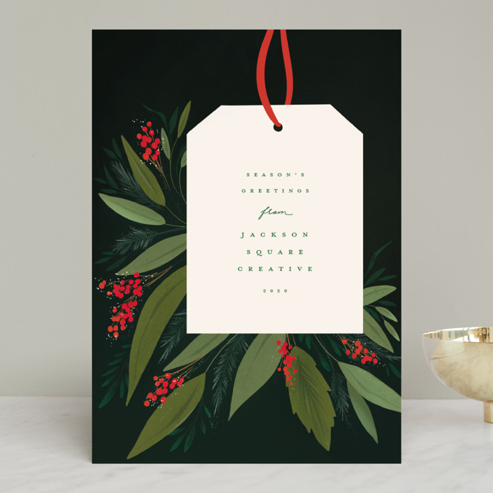 """""""Tag"""" - Business Holiday Cards in Holly Berry by Julie Murray."""
