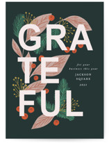 This is a green business holiday card by Jen Owens called Grateful with standard printing on signature in standard.