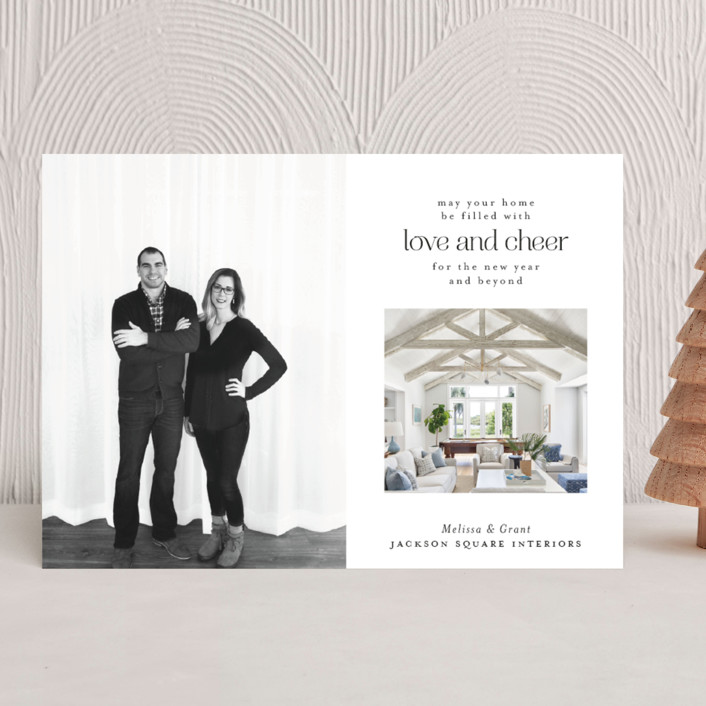 """""""Comfort and Joy"""" - Business Holiday Cards in Midnight by Calluna Fine Paper."""