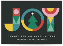 This is a black business holiday card by Maria Alou called Nordic Joy with standard printing on signature in standard.