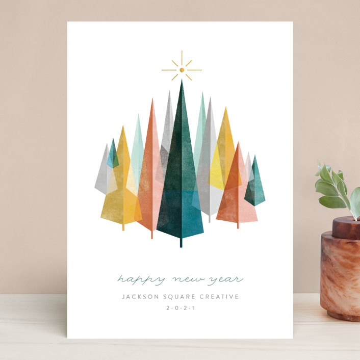 """""""Woodblock Forest"""" - Modern Business Holiday Cards in Evergreen by Robert and Stella."""