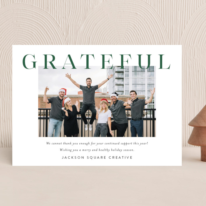 """""""Bold Gratitude"""" - Business Holiday Cards in Fir by Kasia Labocki."""