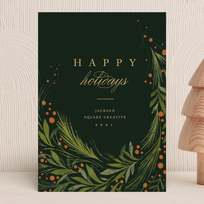 """""""Greenery"""" - Business Holiday Cards in Evergreen by Erin L. Wilson."""