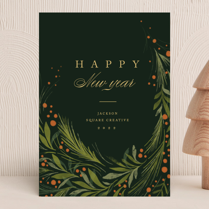 """Greenery"" - Business Holiday Cards in Evergreen by Erin L. Wilson."