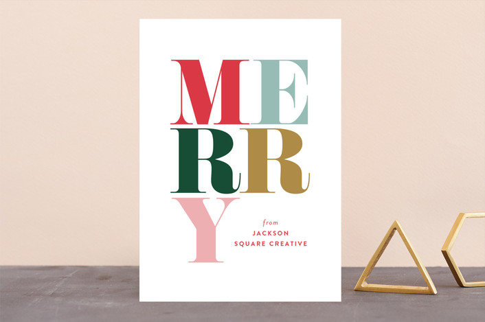 """Pirouette"" - Business Holiday Cards in Berry by Carrie ONeal."