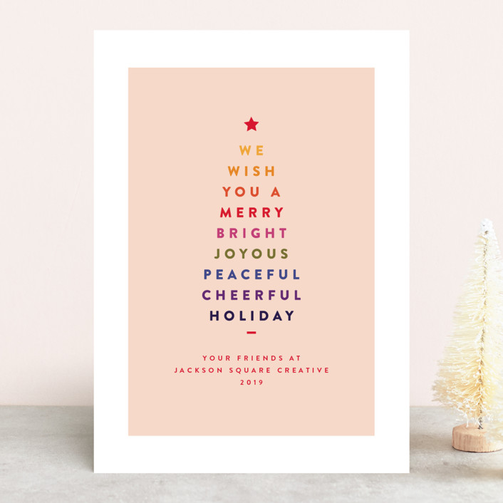 """Type Tree"" - Business Holiday Cards in Rainbow by Nazia Hyder."
