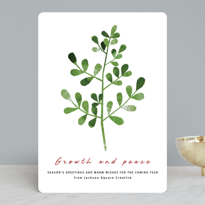"""""""Growth and peace"""" - Business Holiday Cards in Rust by Sumak Studio."""