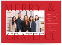 This is a red business holiday card by Corinne Malesic called Joyful and Grateful with standard printing on smooth signature in standard.