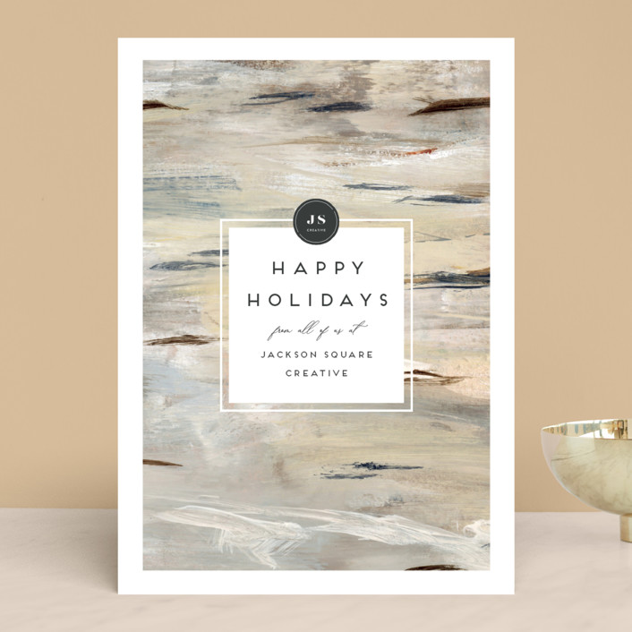 """Painted Birch"" - Business Holiday Cards in Natural by Nicole Walsh."
