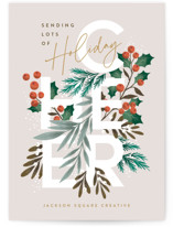 This is a brown business holiday card by Alethea and Ruth called Holiday Cheer Greenery with standard printing on signature in standard.