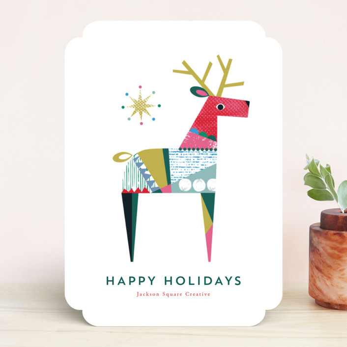 """""""Collaged Reindeer"""" - Vintage Business Holiday Cards in Holly by Shannon Hays."""