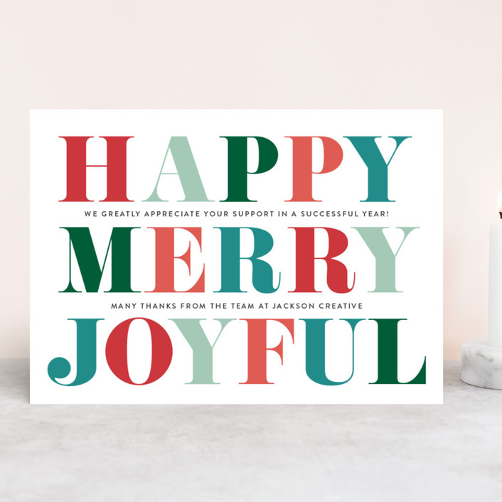 """Bold ColorPop"" - Business Holiday Cards in Teal by Coco and Ellie Design."