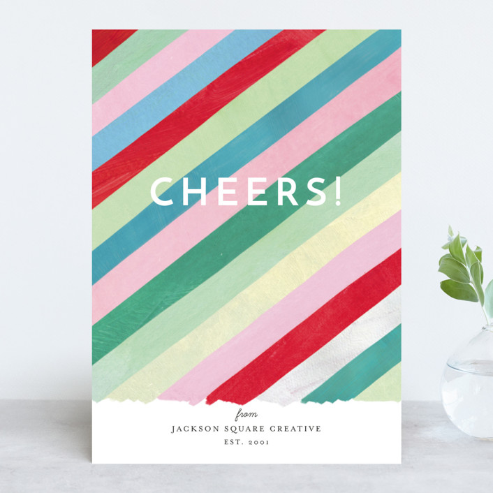 """Cheers Diagonal Stripes"" - Modern Business Holiday Cards in Gum Drops by melanie mikecz."