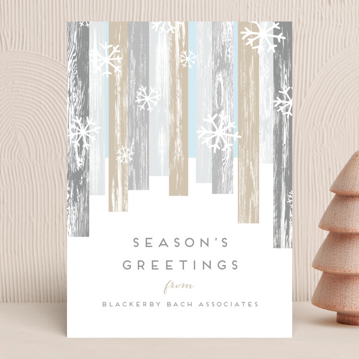 """""""Modern Forest"""" - Business Holiday Cards in Snowy Woods by Kaydi Bishop."""