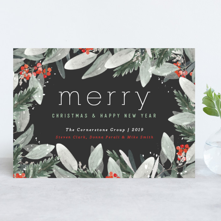 """Berry Merry Christmas"" - Business Holiday Cards in Charcoal by Little Scribbles Paper."