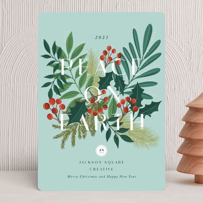 """""""Abundant peace on earth"""" - Business Holiday Cards in Mint by Yaling Hou Suzuki."""