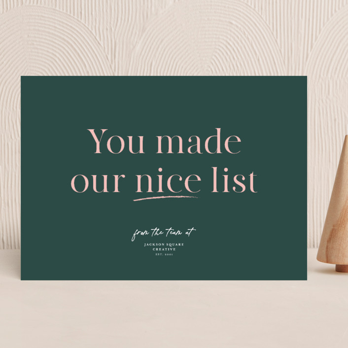 """""""Nice List Approved"""" - Funny Business Holiday Cards in Wreath by Caitlin Considine."""