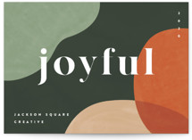 This is a green business holiday card by Pixel and Hank called Joyful Mod with standard printing on signature in standard.