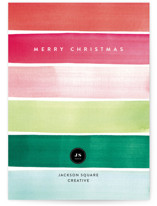 This is a green business holiday card by Four Wet Feet Studio called Holiday Watercolor Stripes with standard printing on signature in standard.