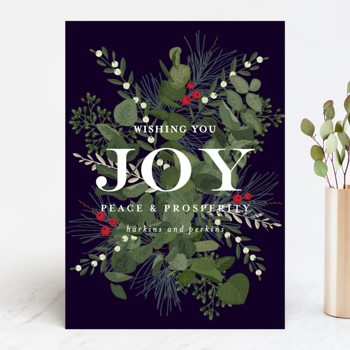 """Joy and Prosperity"" - Business Holiday Cards in Midnight by Chris Griffith."