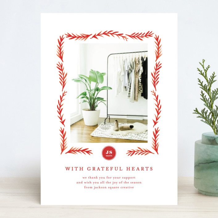 """""""Grateful Hearts"""" - Business Holiday Cards in Crimson by Amy Kross."""