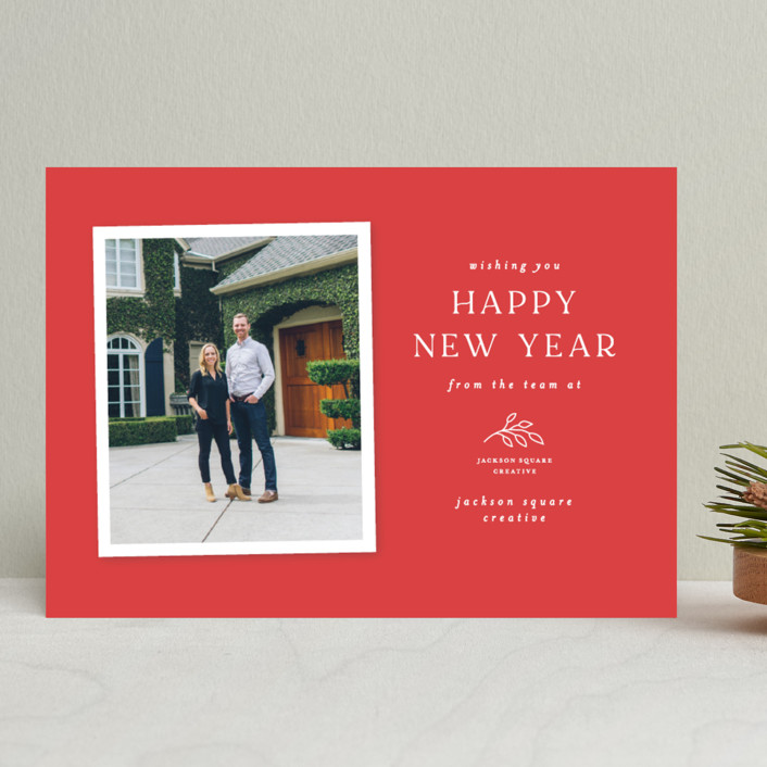 """Holiday simplicity"" - Business Holiday Cards in Cranberry by Jen Banks of Ink and Letter."