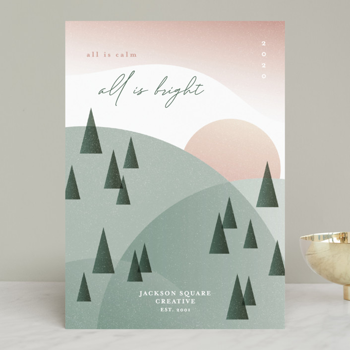 """""""All Is Calm, All Is Bright"""" - Modern Business Holiday Cards in Sunrise by Erin German."""