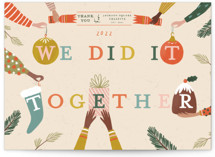 This is a beige business holiday card by Sarah Knight called We did it together with standard printing on signature in standard.