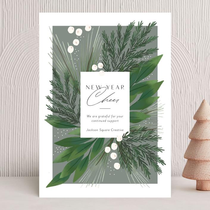 """Botanical Frame"" - Business Holiday Cards in Mist by Rebecca Durflinger."